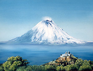 Mexican oil paintings, popocatepetl